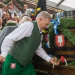 Munich's new mayor Dieter Rieter took only four blows to tap his first cask at Oktoberfest - a satisfactory performance.Photo: DPA