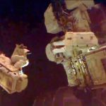 Gerst and Reid during their spacewalk. Gerst is seen here attached to a robotic arm.Photo: NASA/DPA