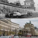 An abandoned car at the Wall by the Brandenburg Gate in 1989 and today.Photo: Wolfgang Kumm/dpa