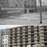 """East German propaganda put up during the construction of the Wall on Chausseestraße in 1961. """"West Berlin will become a demilitarized, neutral, free city,"""" it says.Photo: akg-images/Lukas Schulze"""