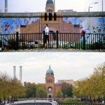 The Wall at Brücke Waldemarstraße, Kreuzberg in 1986. The artwork shows St. Michael's Church on the west side of the Wall.Photo: Dieter Palm/Lukas Schulze