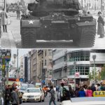 US tanks at Checkpoint Charlie on Friedrichstraße in October 1961, shortly after the Wall was constructed.Photo: dpa/Lukas Schulze