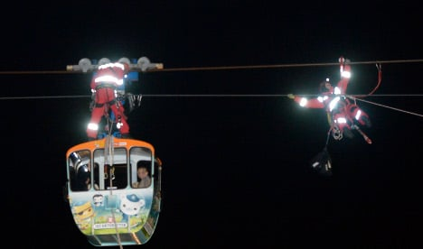 Tourists stranded on cable car over Rhine
