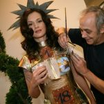 <B>24 days of skin:</b> A leather dress by Berlin designer Rodan with panels that are slowly peeled away to reveal body art by  Matthias von Matuschka gets points for creativity, but we don't think this is very practical. Photo: DPA