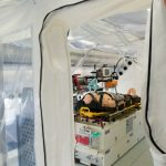 An isolation chamber on the airplane Robert Koch, which will be one of three specially made planes for carrying patients with highly communicable diseases, like Ebola. Photo: DPA