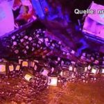 Bottoms up! Thousands of litres of beer flooded a motorway near Duisburg in July when a truck loaded with crates of Bitburger overturned. Not the kind of free drink you really want to run into though. Photo: NRW-aktuell.tv/YouTube screenshot