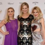 Boxer Regina Halmich, television host Nina Ruge and designer Sonja Kiefer teamed up to take on the red carpet in Berlin. Photo: DPA