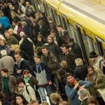 Passengers squeeze into crammed underground trains in Berlin, which are not affected by the strike.Photo: DPA
