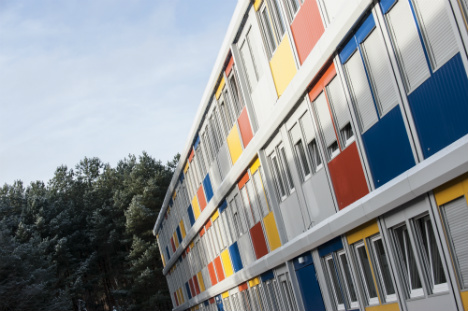 Refugees take up home in Berlin 'container town'