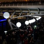 """<b>Lichtgrenze</b>: Top spot went to the <i>border of light</i> - a 15-kilometre stretch of the former East-West Berlin border that was lit up with thousands of balloons. The balloons were released on the evening of November 9 <a href=""""http://www.thelocal.de/20141105/all-of-the-locals-articles-on-the-berlin-wall-archive-25-years"""">to symbolize the fall of the wall</a> on its 25th anniversary. Photo: DPA"""