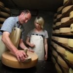 <b>Allgäuer Bergkäse</b> – This  unpasteurized cheese can only be produced in the alpine Allgäu region of southern Bavaria, where small batches are made at altitudes between 900 and 1800 metres. Only a few dairies in the valleys produce the cheese. It ripens for four months to produce a mild, armoatic and nutty flavour, which gets stronger the longer it ripens.Photo: DPA