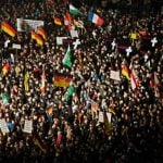 Dresden, a Pegida stronghold, saw a record turnout of 25,000 supporters of the anti-Islam movement, along with a few hundred counter-protesters.Photo: DPA