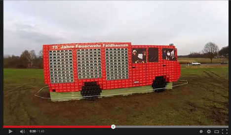 Firefighters build record truck with beer crates