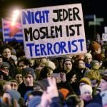 Pegida demonstrators were massively outnumbered in  Leipzig, where 30,000 counter-demonstrators faced around 5,000 from offshoot 'Legida'.Photo: DPA