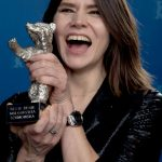 """Best Director Malgorzata Szumowska (Poland) celebrates her Silver Bear prize for her film """"Body"""" about a grieving anorexic daughter and a psychiatrist each dealing with their own losses. Photo: DPA"""