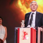 """British actor Tom Courtenay claims his Silver Bear for Best Actor after his turn in """"45 Years"""" with Charlotte Rampling. Photo: DPA"""