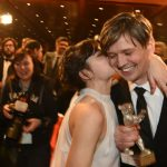 """Spanish actor Lala Costa kisses cameraman Sturla Brandth. The Norwegian won the Silver Bear for Outstanding Artisitc Contribution for his work in the film """"Victoria"""". Photo: DPA"""