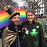 """""""We're German, but we just love the tradition of St. Patrick's Day,"""" this colourfully dressed pair told The Local.Photo: Tom Barfield, The Local."""