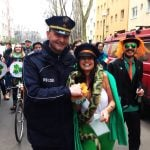 Even police helping keep order at the parade got dragged into the fun. Photo: Tom Barfield, The Local