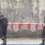 """French firefighters prepare stretchers to bring the bodies down from the mountain. One official said there was no sign of any bodies intact. Everything was """"pulverised"""".Photo: BFM TV"""