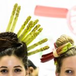 If there's nothing at all we could do to convince you to eat your asparagus, you might just have to get creative with it – like these two young ladies and their innovative hair ornaments.Photo: DPA