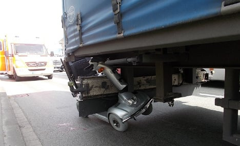 Lorry drags old man and scooter 50 meters