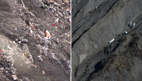 Then and now: The site of the Alps plane crash