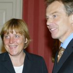 """2003 – Merkel supported the US invasion of Iraq, describing it as """"unavoidable"""", and then accused Schröder of anti-Americanism. She also set out a reform course based on neoliberal economic policies, abolition of national military service, and a phasing-out of nuclear power.Photo: DPA"""