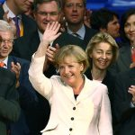 September 27th 2009 – Merkel was re-elected as Chancellor of Germany with an increased number of seats compared to 2005, despite her party receiving fewer votes.  The CDU/CSU formed a coalition with the FDP, who had the best result in their history.Photo: DPA