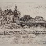 This pen drawing shows a 'City view' - it's not clear exactly which city is depicted.Photo: Auktionshaus Weidler