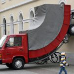 <b> Truck </b> – The inspired title of this installation by Austrian artist Erwin Wurm was only equaled by the sense of humour shown by a local traffic warden, who gave the sculpture a parking ticket.  Wurm's speciality seems to be vehicles that look like they are from a Salvador Dali painting, as he exhibited a curved VW Van in 2005.Photo: DPA