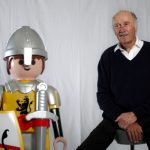 The first Playmobil figures start to reach homes in 1974. A knight, a workman and a Native American were the first characters made at the beginning. Here's Brandstätter posing with a later, larger version of the knight figure.Photo: DPA