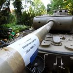 Prosecutors stuck a label on the barrel of the Panther's 75mm gun as a (probably unnecessary) reminder of which case the evidence related to.Photo: DPA