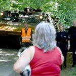 Local people were bemused to see military engineering recovery vehicles rolling through their usually quiet streetsPhoto: DPA