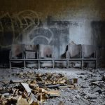 """Patients in this <a href=""""http://digitalcosmonaut.com/tag/sanatorium/"""">abandoned sanatorium</a> were kept well-entertained -  this is a row of cinema seats, which must have been quite the luxury when it was still bustling with doctors, nurses and the sick.Photo: <a href=""""http://www.digitalcosmonaut.com"""">Digital Cosmonaut</a>"""