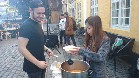 Participants were served soup made from vegetables that would have otherwise gone to waste.