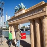 Perhaps struggling to find its own connection to the past, the finance power house imported a bit of Berlin, as they got their own miniature Brandenburg Gate for the day.Photo: DPA