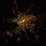 Berlin at night - you can see the different colours of the street lamps in the former East and West halves of the city.