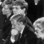 Schmidt (centre) at the funeral of Hanns Martin Schleyer, the head of the German Employers' Association murdered by Red Army Faction terrorists, in 1977. Schmidt felt a heavy share of responsibility in Schleyer's death.Photo: DPA