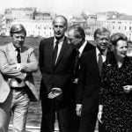 Schmidt (l) with French President Valery Giscard d'Estaing (2nd l), Italian Prime Minister Francesco Cossiga (m), US President Jimmy Carter (2nd r) and British Prime Minister Margaret Thatcher (r) at an economic conference in Venice in 1980.Photo: DPA