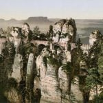 The famous bridge running through the Bastei rock formation in Saxony. Photo: Collection Marc Walter/Taschen