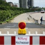 The Rhine breaks its banks in Cologne, North Rhine-Westphalia, on Thursday.Photo: DPA