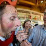 Manager of the Nose Club Josef Siedl measuring Michael Weichselbaumer's nose.Photo: Photo: DPA