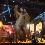 German pop star frazzled by flame thrower finishes show