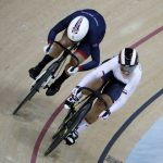 25-year-old Kristina Vogel was first to cross the finish line during the Spring Final of Track Cycling, leaving the UK's Rebecca James behind her. Even the fact that her saddle broke off right before the end couldn't stop her. Photo: DPA