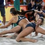 Despite the lack of beaches or pleasant weather in Germany, Laura Ludwig and Kira Walkenhorst came out first at the Olympics Beach Volleyball final. They gave it their all as they beat their Brazilian competitiors in an intense match.Photo: DPA