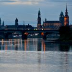 The sun begins to rise over Dresden,  which hosted this year's main national German Unity Day celebration. Each year a different city hosts the fest, with the Saxon capital in the former communist East Germany chosen for 2016.Photo: DPA
