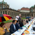 Minister-President of Saxony, Stanislaw Tillich (CDU), greets delegates from all 16 Bundesländer (German states) at a 100-metre table in the courtyard of the Zwinger palace.Photo: DPA