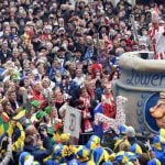 Hoppeditz - one of Düsseldorf's main Karneval figures - make a speech from a huge pot of mustard in the middle of the square.Photo: DPA