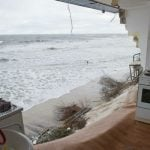 The view out of the front of the ruined food store in Zempin, on the popular tourist island of Usedom.Photo: DPA